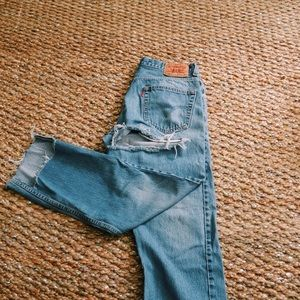 Levi's high waisted relaxed fit distressed jeans
